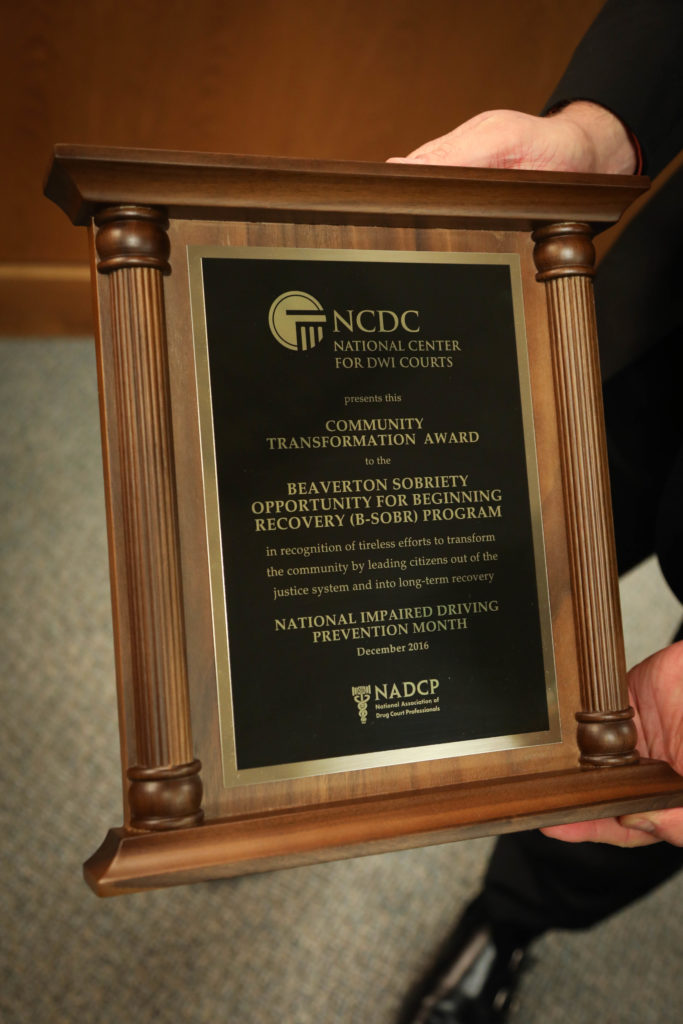 The B-SOBR court team is awarded NCDC's Community Transformation Award, the highest honor given to individual court programs.